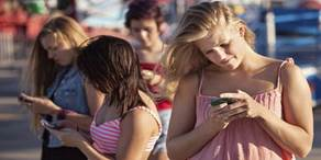 Girls using phones